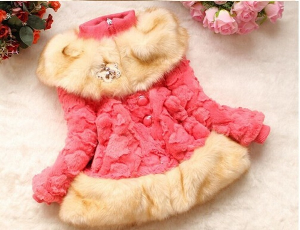 2015 Winter children parkas Flower Kids christmas outfits Baby snowsuit Outerwear Thicker fur Jackets & Coats baby girls jackets(China (Mainland))