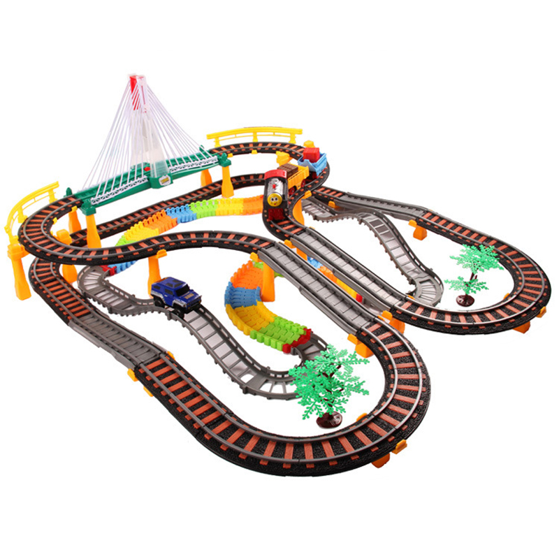 Super Pack Large Assembly Electric Flashing Trains Model Slot Track Set Children Creative Toys Trackmaster Miniature Vehicles(China (Mainland))