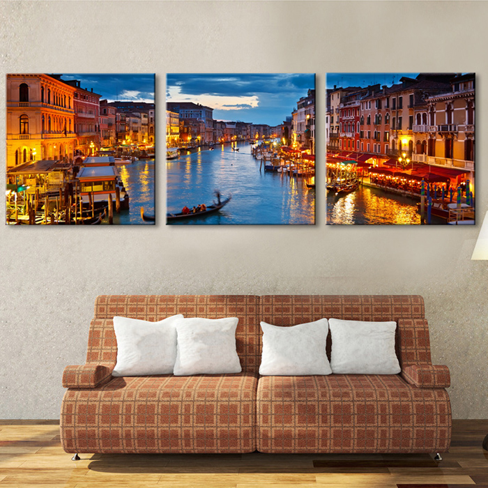 Free Shipping E-HOME Oil Painting City Canal Decoration Painting Home Decor On Canvas Modern Wall Prints Set of 3(China (Mainland))