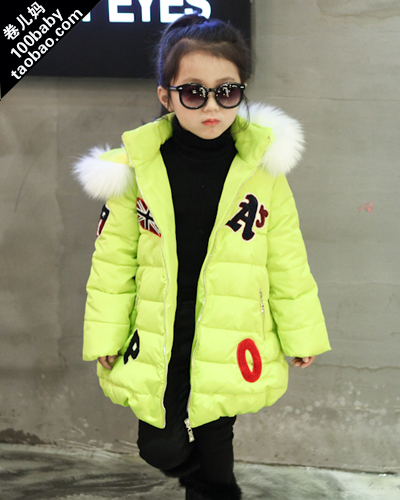 girls affixed cloth with thick long winter white collars children warm winter jacket coat<br><br>Aliexpress