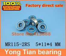 Free Shipping High quality 10PCS MR115-2RS ABEC-5 5*11*4 mm Miniature Ball Bearings MR115RS L1150