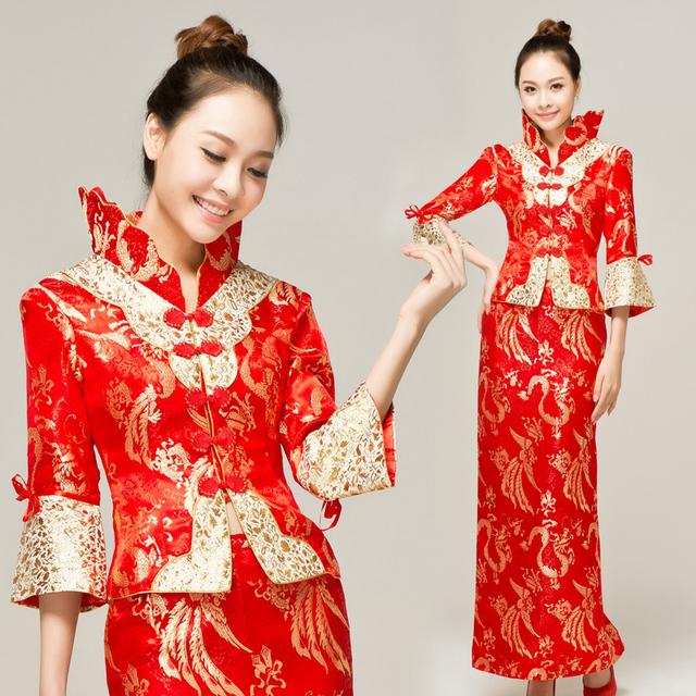 Spring and summer long-sleeve cheongsam wedding dress fashion cheongsam improved bride evening dress long design vintage wedding