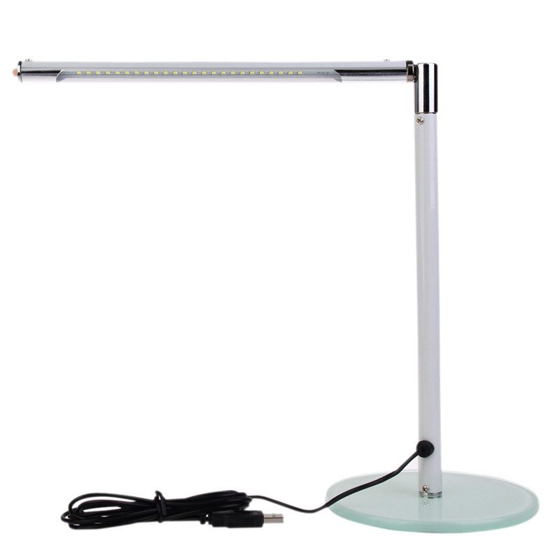 Simple 24 LEDs Desk Table Lamp Toughened Glass Base for Home Office White ASAF<br><br>Aliexpress