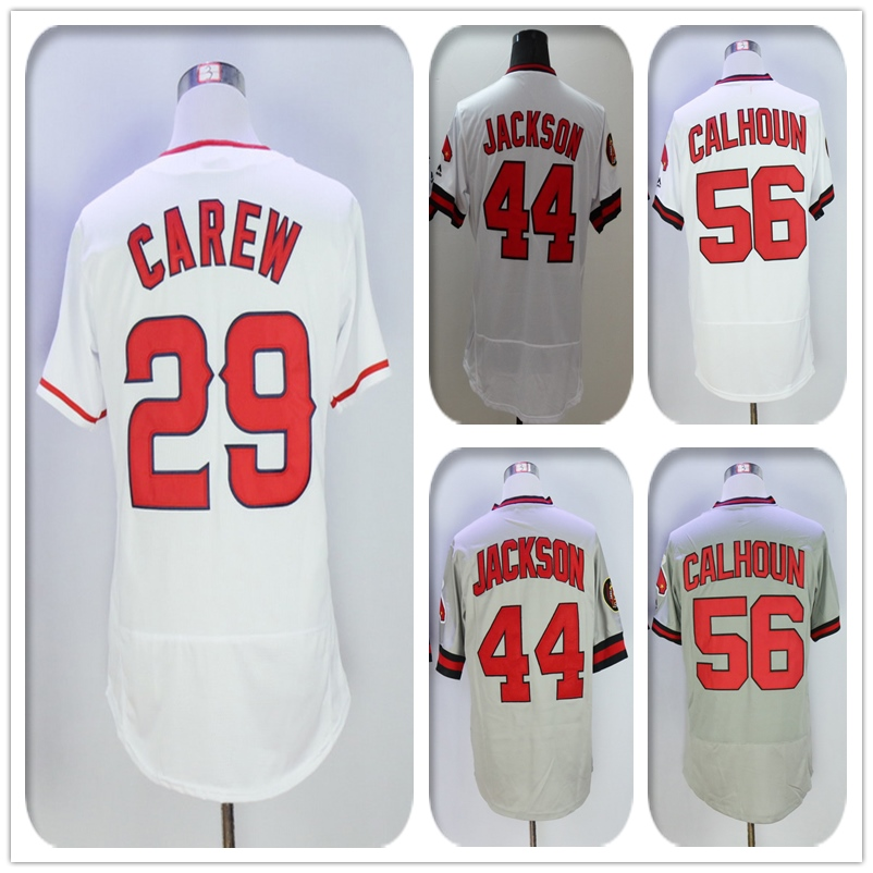 Mens Flexbase Version #56 Kole Calhoun #29 Rod Carew #44 Reggie Jackson Jersey Color Gray White Throwback Jerseys(China (Mainland))