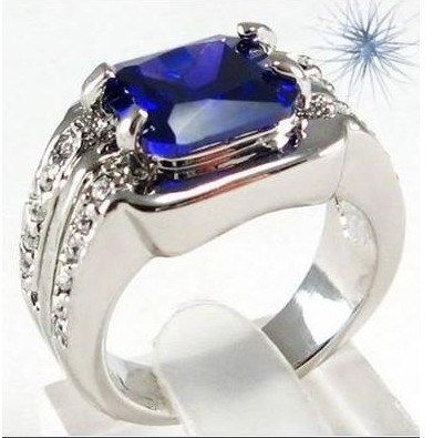 Size10 Fashion Jewelry blue sapphire men's 10KT white Gold Plated Men Ring White Ring 1pc Hot Selling!(China (Mainland))