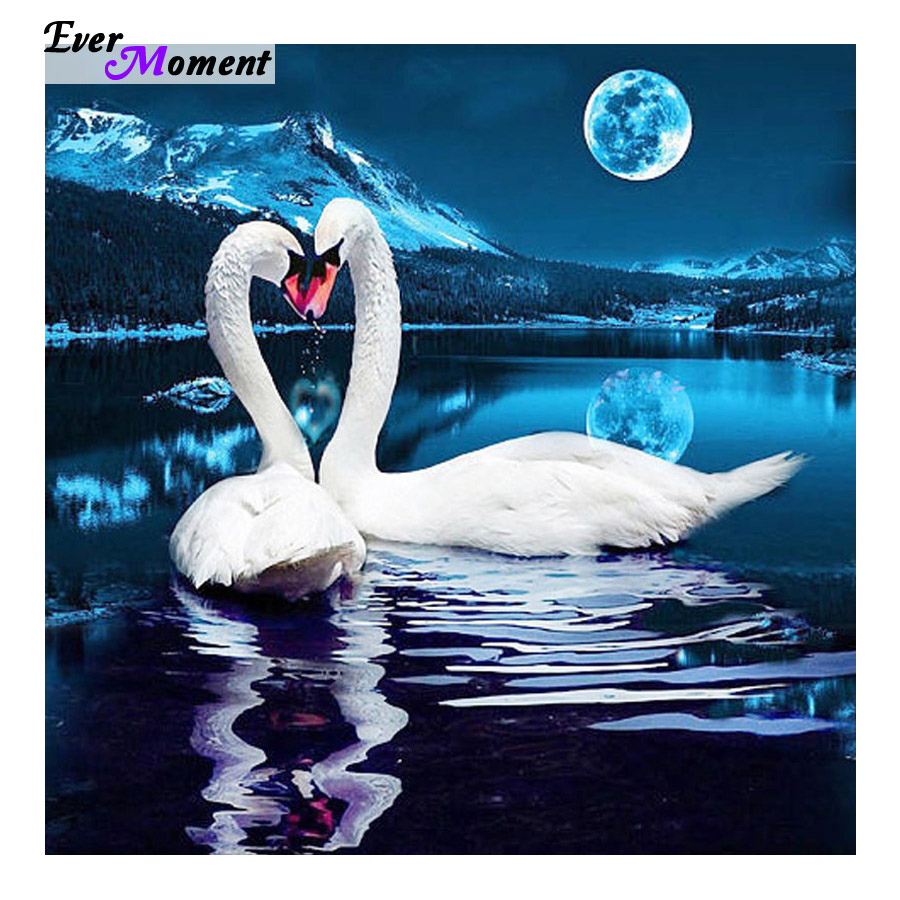 DIY 5D Square Diamond Painting Cross Stitch Kits Autumn Lover Swans Animals Diamonds Embroidery Home Decor Diamond Mosaic BSF465(China (Mainland))