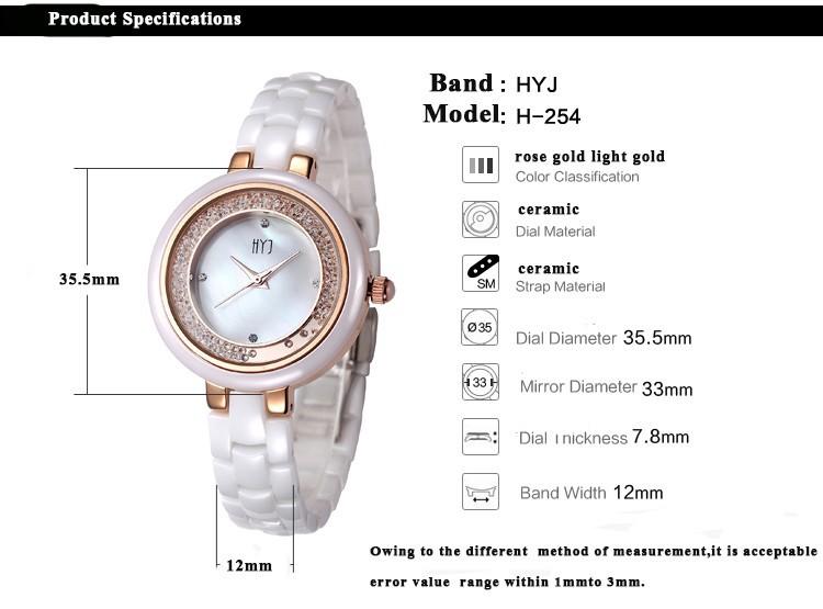 HYJ Жемчужной раковины керамические часы женщины белая керамическая горный хрусталь стол мода водонепроницаемый дамы кварцевые женские часы relojes H254