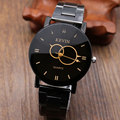 2016 Fashion Brown Black Two Circles Stainless Steel Kevin Quartz Wrist Watch Men Gift orologio da