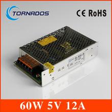 12а 5 В 60 Вт из светодиодов импульсный источник питания трансформатор переменного тока 110 В 220 В до 5 В выход постоянного тока, для из светодиодов полосы света для видеонаблюдения ( s-60-5 ) вход