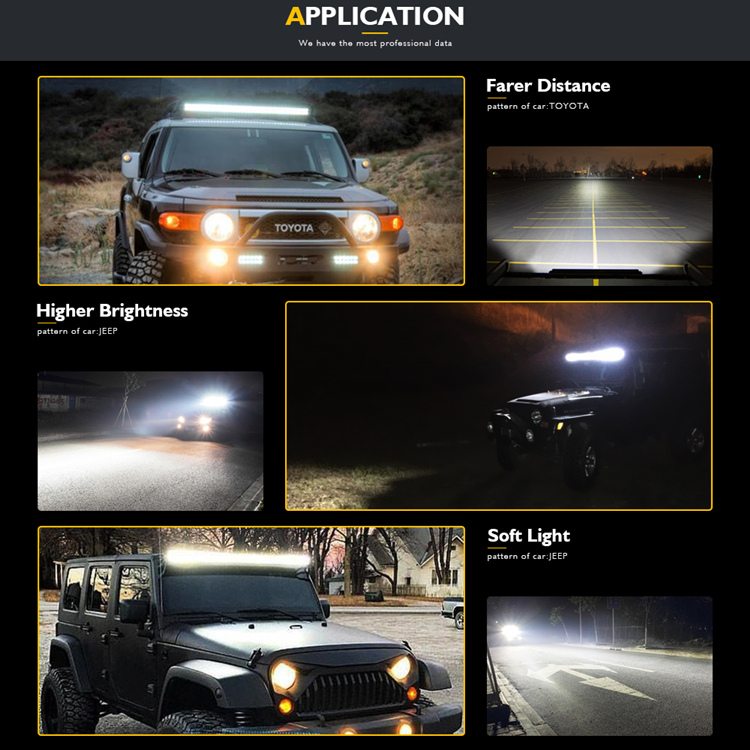 WEISIJI 1Pcs 8inch LED Work Light New 5D Lens with High Intensity Cree Chips 40W LED Light Bar for Jeep Ford Truck SUV ATV UTV
