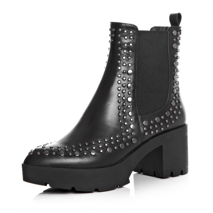 2015 Autumn / winter Full Grain Leather Womens Pointed Toe Punk Riding boots Fashion High Quality Rivets Ankle boots for women<br><br>Aliexpress