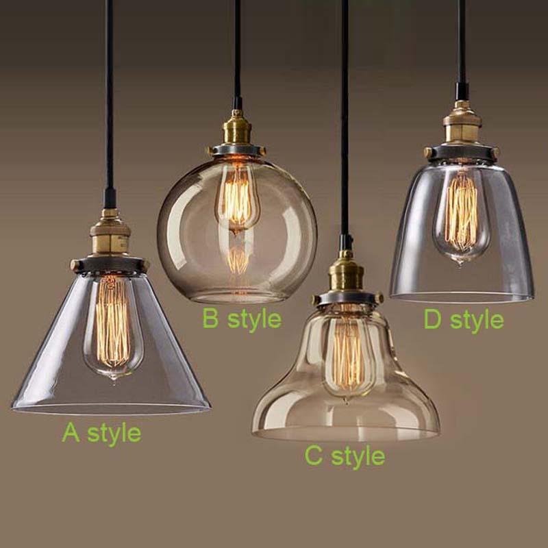 Retro Vintage Pendant Lights Clear Glass Lamshade Loft Pendant Lamps E27 110V 220V for Dinning Room Home Dcoration Lighting