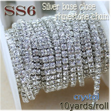 Buy New deals 10yards/roll clear crystal SS6-SS12 (2mm-3mm) silver base Apparel Sewing style diy beauty accessories rhinestone chain for $5.34 in AliExpress store