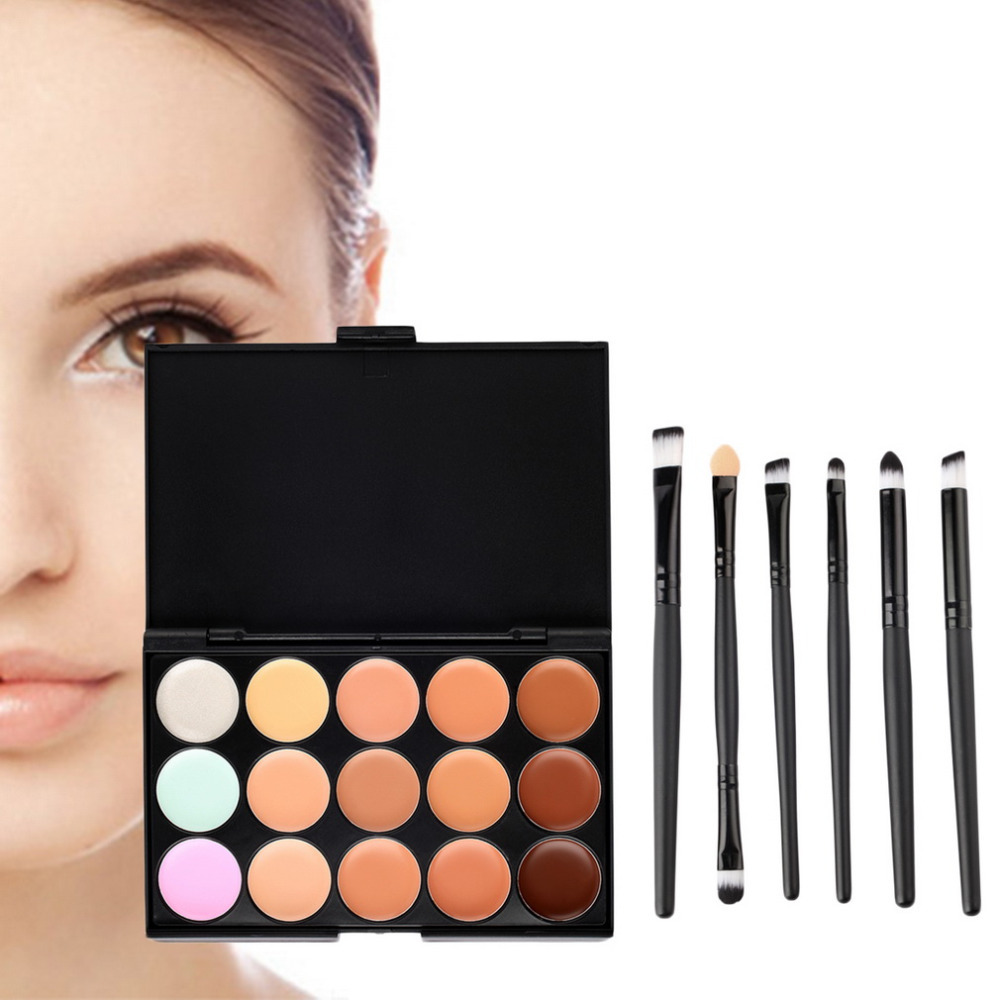 New 15 Colors Contour Face Cream Makeup Concealer Palette with Beauty Makeup Brushes Eyeshadow Eyeliner Smudge Brush Hot Selling(China (Mainland))