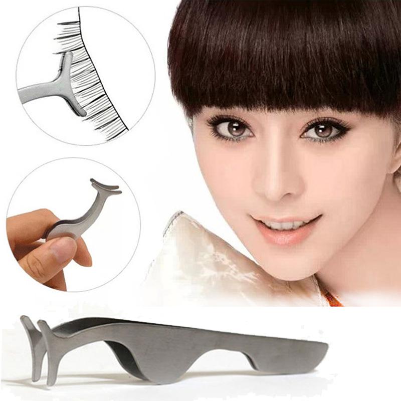 Beauty Tools Multifunctional False Eyelashes Stainless Auxiliary Eyelash Curler Tweezers Clip Cosmetic Tool free shipping(China (Mainland))