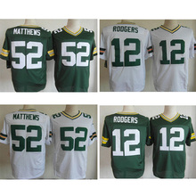 cheap hot sale mens clay matthews 52# aaron rodgers 12# Green White Elite 100% Stitched Logos Free shipping(China (Mainland))