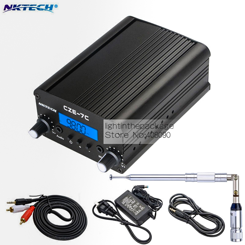 NKTECH 1W/7W 76-108MHZ Amplifiers Stereo PLL FM Transmitter Broadcast Radio Station NK-7C CEZ-7C+Adapter+Metal Antenna+Cable(China (Mainland))