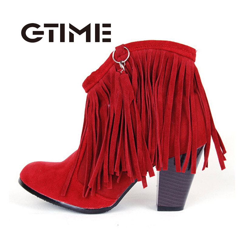 Autumn Winter Ankle Boots High Heel Fringe Boot Women Fashion Gladiator Tassel Shoes Botas De Inverno Size 34-43 4#ZH12(China (Mainland))