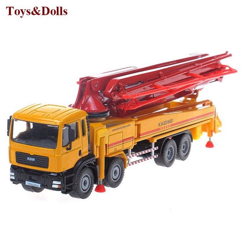 1/55 alloy concrete pump truck mannequin, slide toy fashions building autos,Child academic toys brinquedo children reward