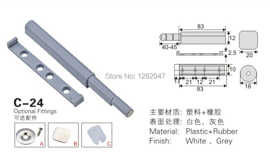 10pcs New push to open system damper buffer for cabinet door cupboard catch without handles ZM-WA(China (Mainland))