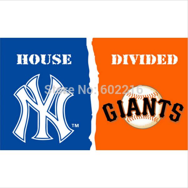 New York Yankees vs. San Francisco Giants House Divided Rivalry Team Logo Flag 3ft x 5ft(China (Mainland))