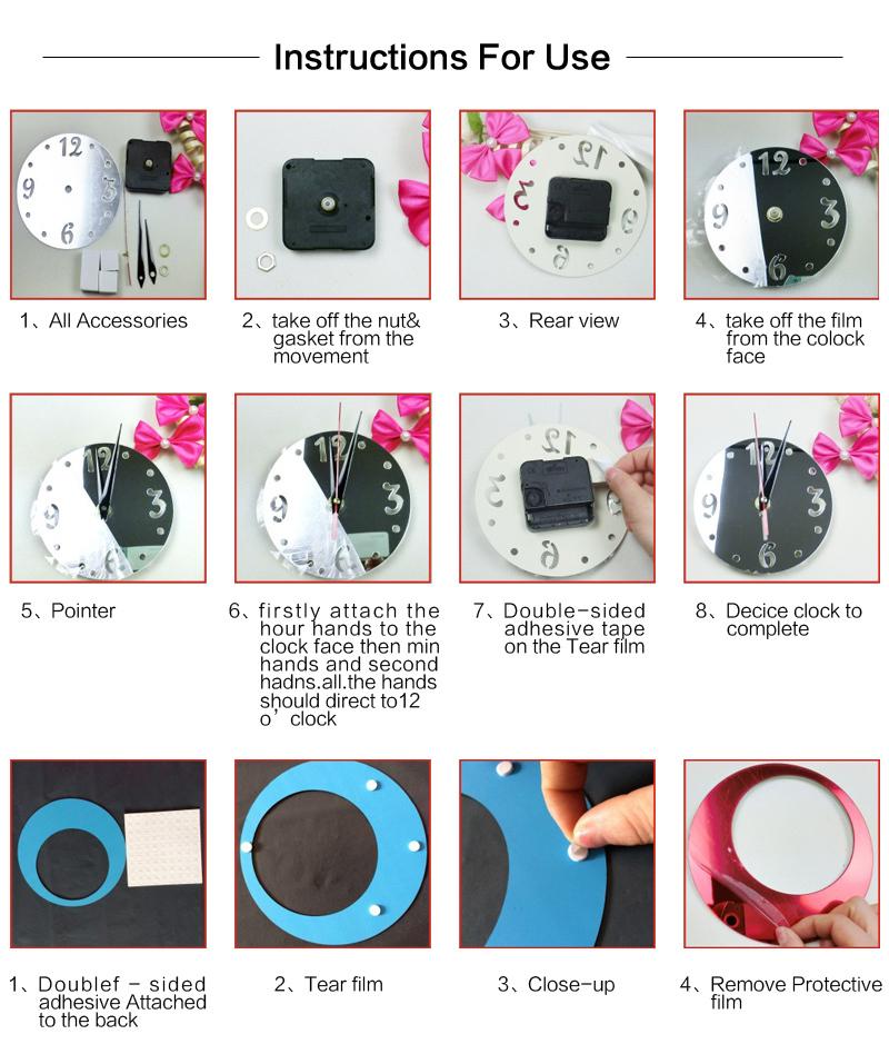 2015 nova venda quente acrílico arte relógio seguro design moderno 3d cristal espelho relógios decoração sala frete grátis