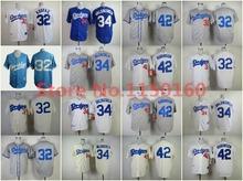 Throwback 42 Jackie Robinson Jersey Los Angeles Dodgers Sandy Koufax Jersey Retro 1955 Baseball Cream Fernando Valenzuela Jersey(China (Mainland))