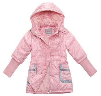 Freeshipping Autumn winter red blue Children Child girl Kids baby hooded long thickened liner coat jacket outwear top PBDS1302