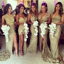 Sweetheart Sleeveless Gold Sequin Sparkly Long Bridesmaid Dress