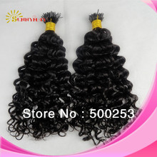 6a grade natural color can dyed any color 100% virgin Brazilian human hair 1g i tip deep curly hair extensions wholesale(China (Mainland))