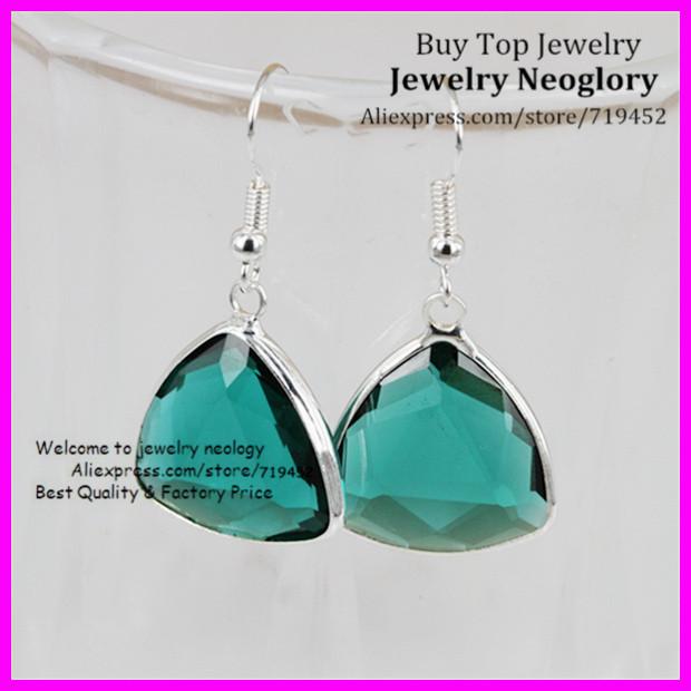 10PCS Triangle Crystal Earrings, Aquamarine Crystal Glass Quartz Dangle Earrings, Silver Bezel Earrings for Birthdays gift<br><br>Aliexpress