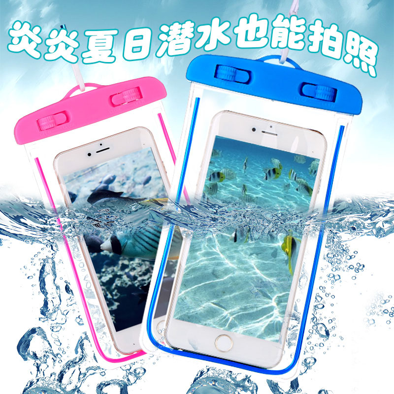 luxury universal water proof bag case for apple iPhone all models phone cover by luminous waterproof underwater diving bags(China (Mainland))
