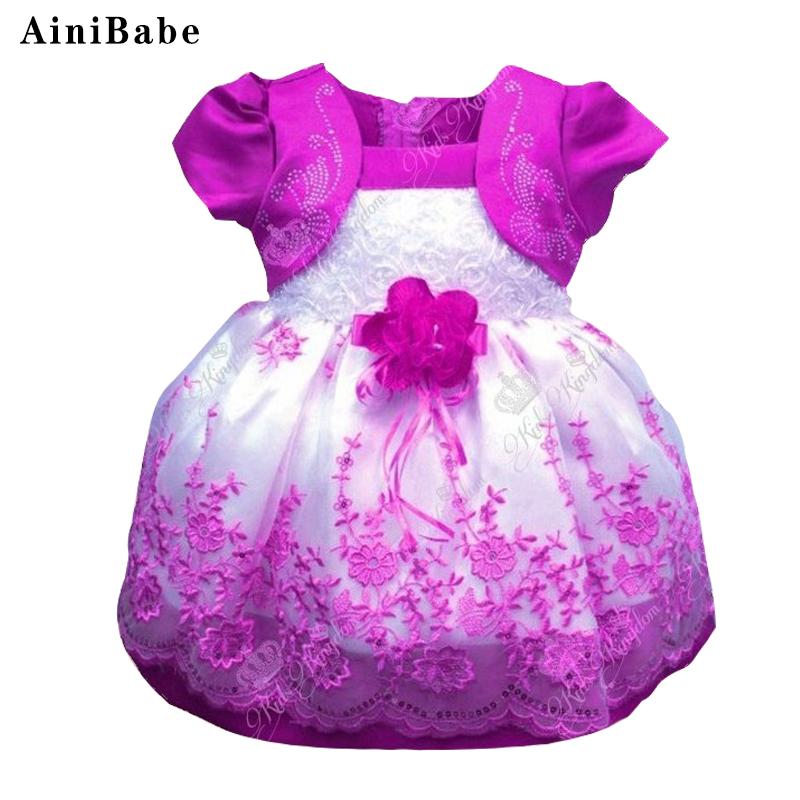 2017 Summer 1 year birthday party dress for girls Newborn Baby Girl dress Flower girls Princess Baptism Communion dresses(China (Mainland))