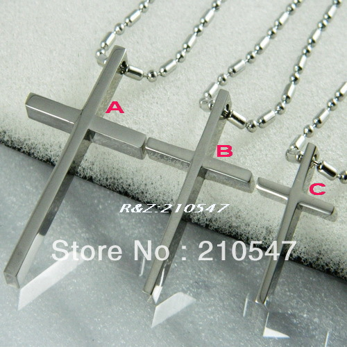 316L stainless steel silver cross Necklace Pendant Fashion SIlver Jewelry Free Shipping  DZ286