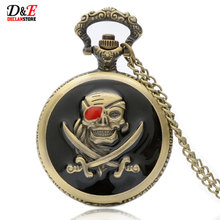 Vintage Pirates Skull in One Piece Steampunk Pocket Watch P089