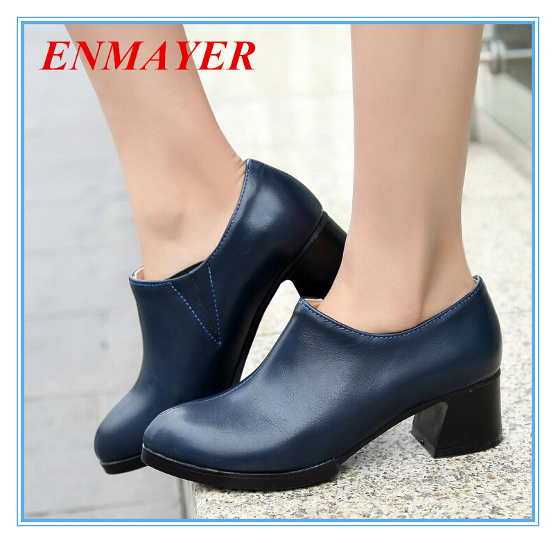 ENMAYER  2015 New Hot small pointed toe womens pumps comfort thick heels shoes for girls grade PU Plain slip-on Leisure  pumps<br><br>Aliexpress