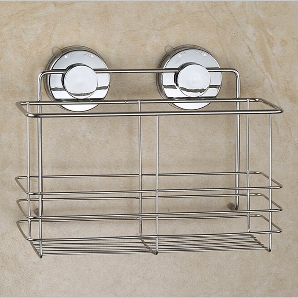 Stainless Steel Non Rust Bathroom Shower Shelf Storage Suction Basket Caddy Silver In Bathroom