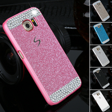 Luxury diamond clear crystal cell phone case for Samsung Galaxy S6 G9200 Fashional Glitter powder rhinestone bling back cover(China (Mainland))