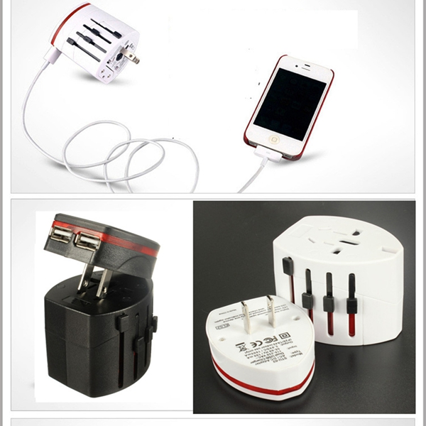 New All in One Universal International Plug Adapter 2 USB Port World Travel AC Power Charger Adaptor with AU US UK EU Plug(China (Mainland))