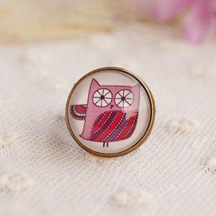 Cute Purple Owl Rings Animal Cartoon Design Vintage Jewelry Bronze Filigree Cuff Ring Fashion Party Costume Jewelry jz017(China (Mainland))