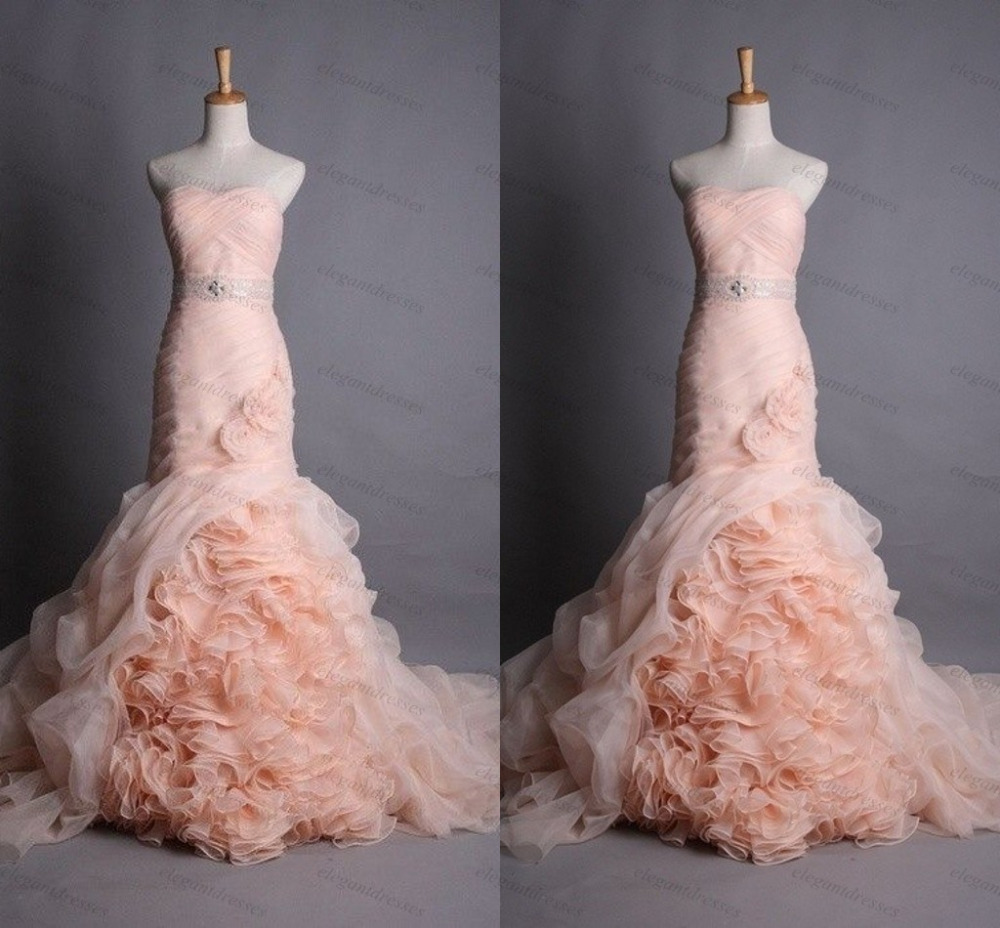 Popular peach mermaid wedding dress buy cheap peach for Peach dresses for wedding