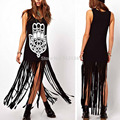Plus Size women summer dress 2015 Tassel Long Dress Cotton Casual Punk maxi Dress Sleeveless Straight