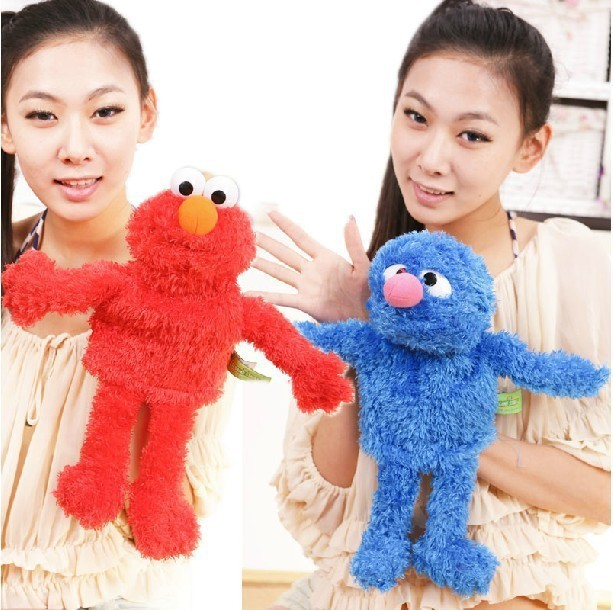 Free Shipping 2pcs/lot 38cm(15inch) Large Size Hand Puppets ELMO COOKIE MONSTER Baby Plush Toy Hand Puppets Talking Props(China (Mainland))