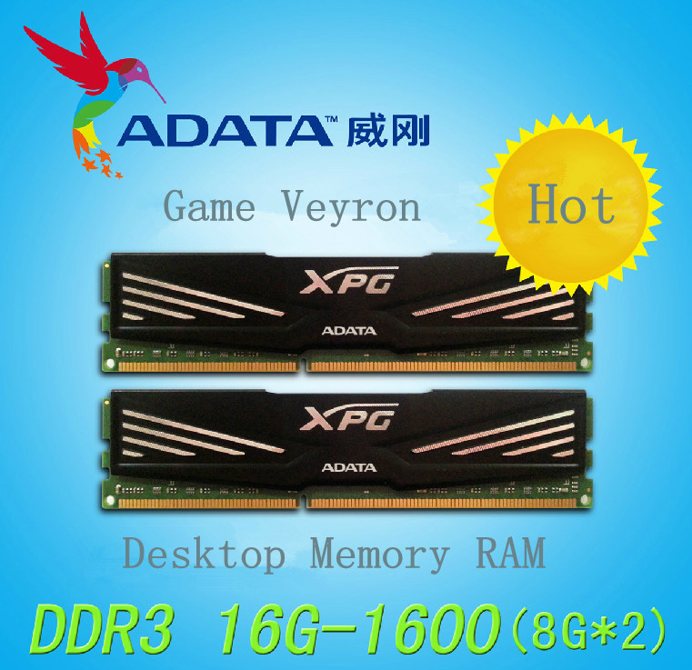 Recommended! Free Shipping Genuine Dual Channel ADATA Game Veyron DDR3 1600MHz 16GB Desktop Memory RAM 8GB*2 For Playing Games<br><br>Aliexpress