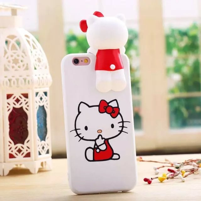 Cute cartoon silicone hello Kitty soft silicone case For iPhone 6/6S free shopping