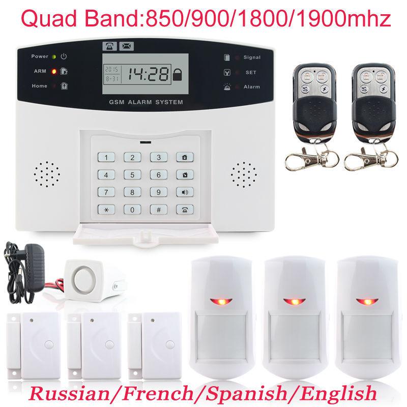 Гаджет  3 x Door Sensor PIR Detector Wireless Quad Band LCD Display Protection Kit GSM Home Burglar Voice Alarme System intercom Monitor None Безопасность и защита