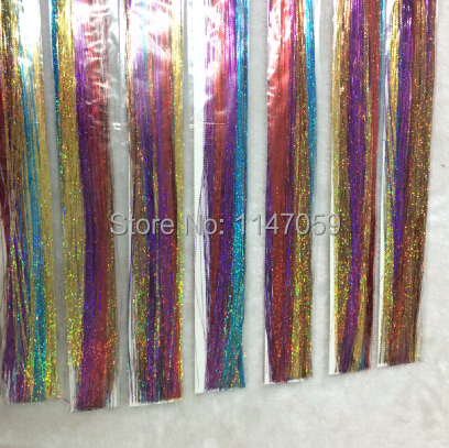 "Free Shipping Sparkle Hair Tinsel 20"" 500atrsands mixed colors per pack,2 packs/lot silk hair tinsel hair bling salon extensions"