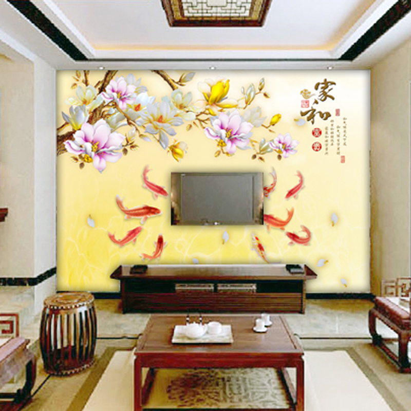 Buy free shipping 3d seamless chinese for Chinese mural wallpaper