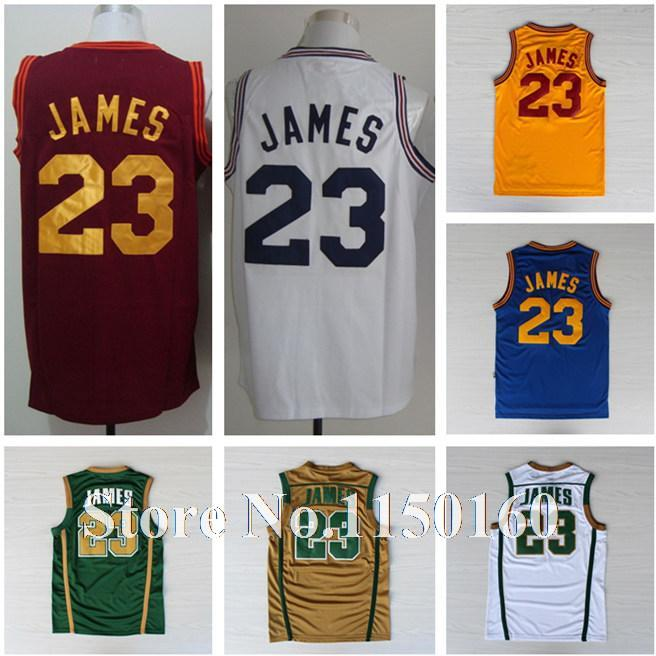 Tops Cleveland 23 Lebron James Jersey Yellow Blue White Red High School 23 Lebron James Irish Jersey Green Gold White Promotion(China (Mainland))