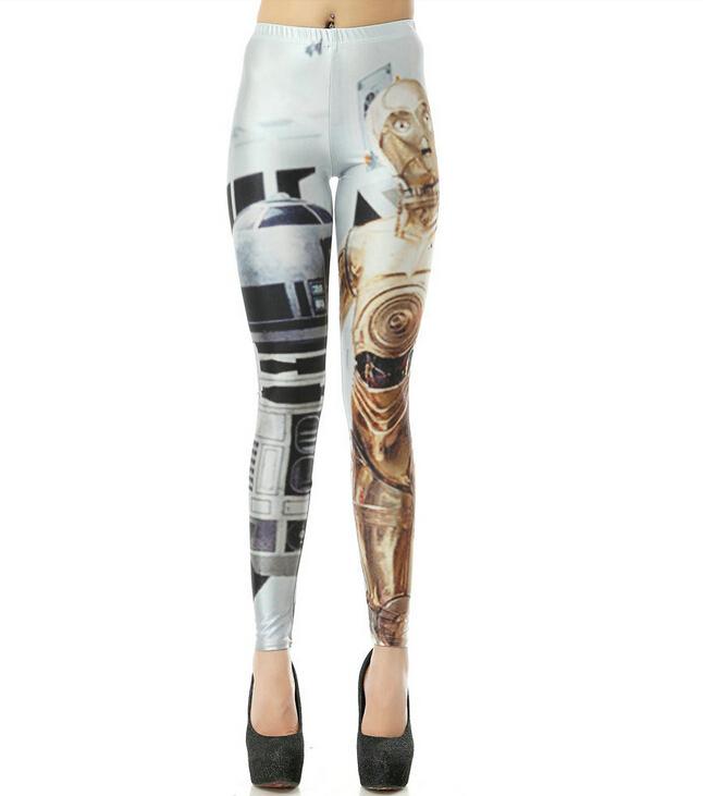 ! 2015 New Women Artoo Threepio Leggings Star War Print Skinny Pants Elastic Leggins Legging Drop Shipping - Crazy Lady store